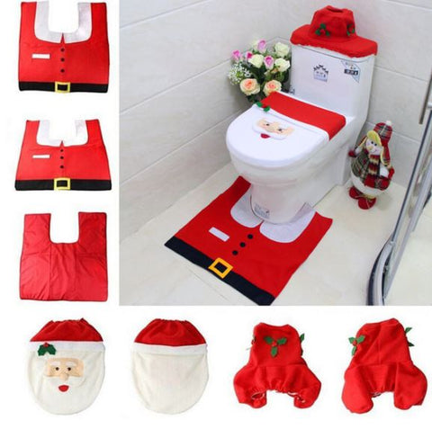 Excellent 3 In 1 Christmas Toilet Seat Cover Set Customarchery Wood Chair Design Ideas Customarcherynet
