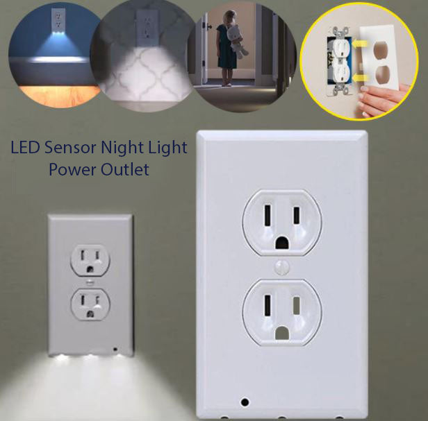 Led sensor light night power outlet sheswish led sensor light night power outlet mozeypictures Image collections