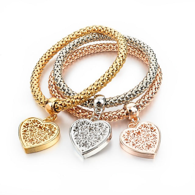"""Heart"" Charm Bracelet with Austrian Crystals"