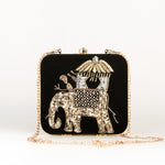 Indian Royal Elephant Portrait Party Clutch  + Free KN95 Protective Face Mask