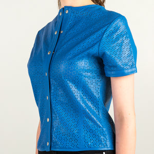 Blue Leather Top