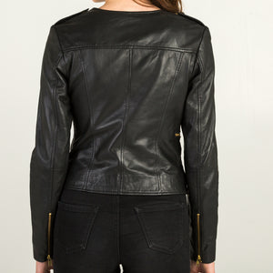 Black Leather Jacket + Free KN95 Protective Face Mask