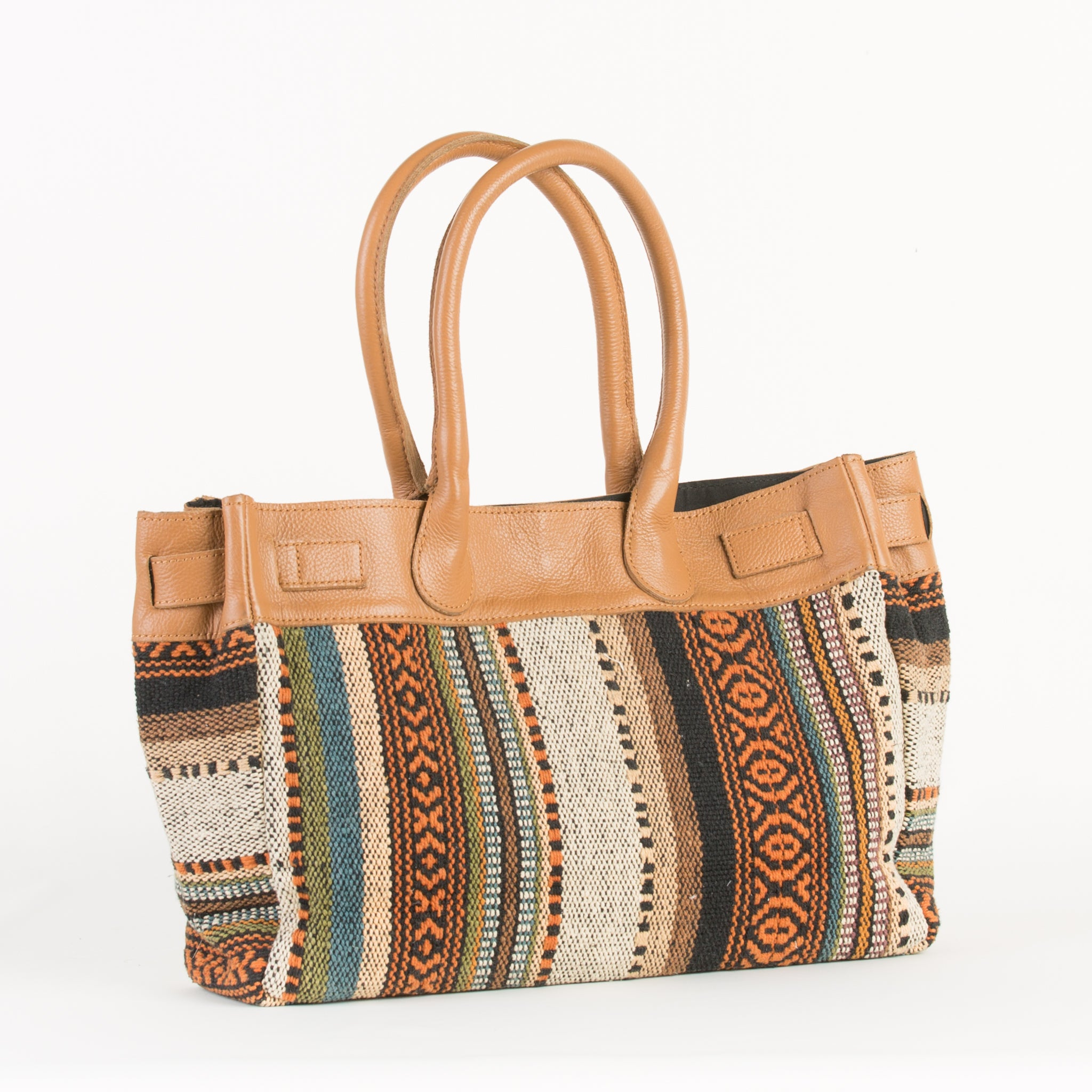 Leather Canvas Mix Handbag for Women