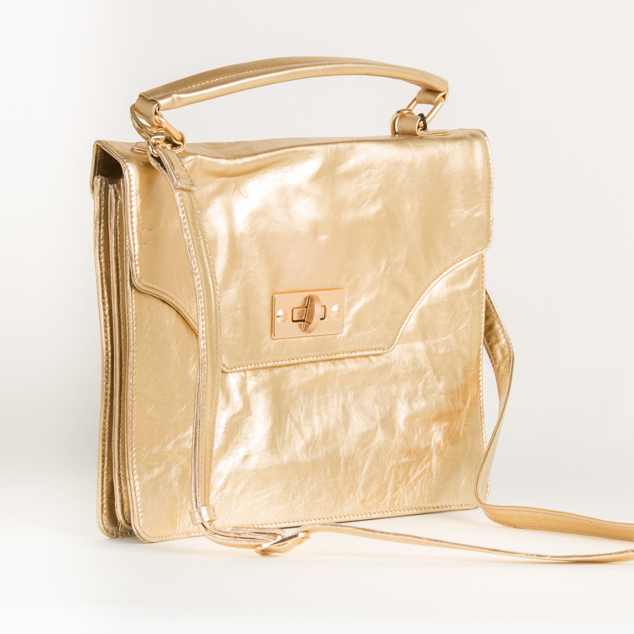 Golden Foil Leather Shoulder Bag