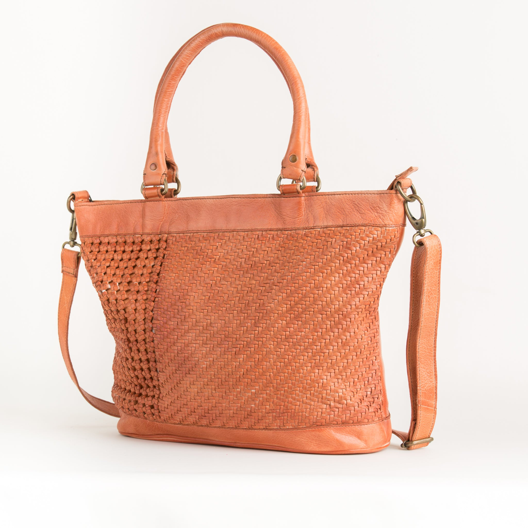Orange Leather Hand Bag