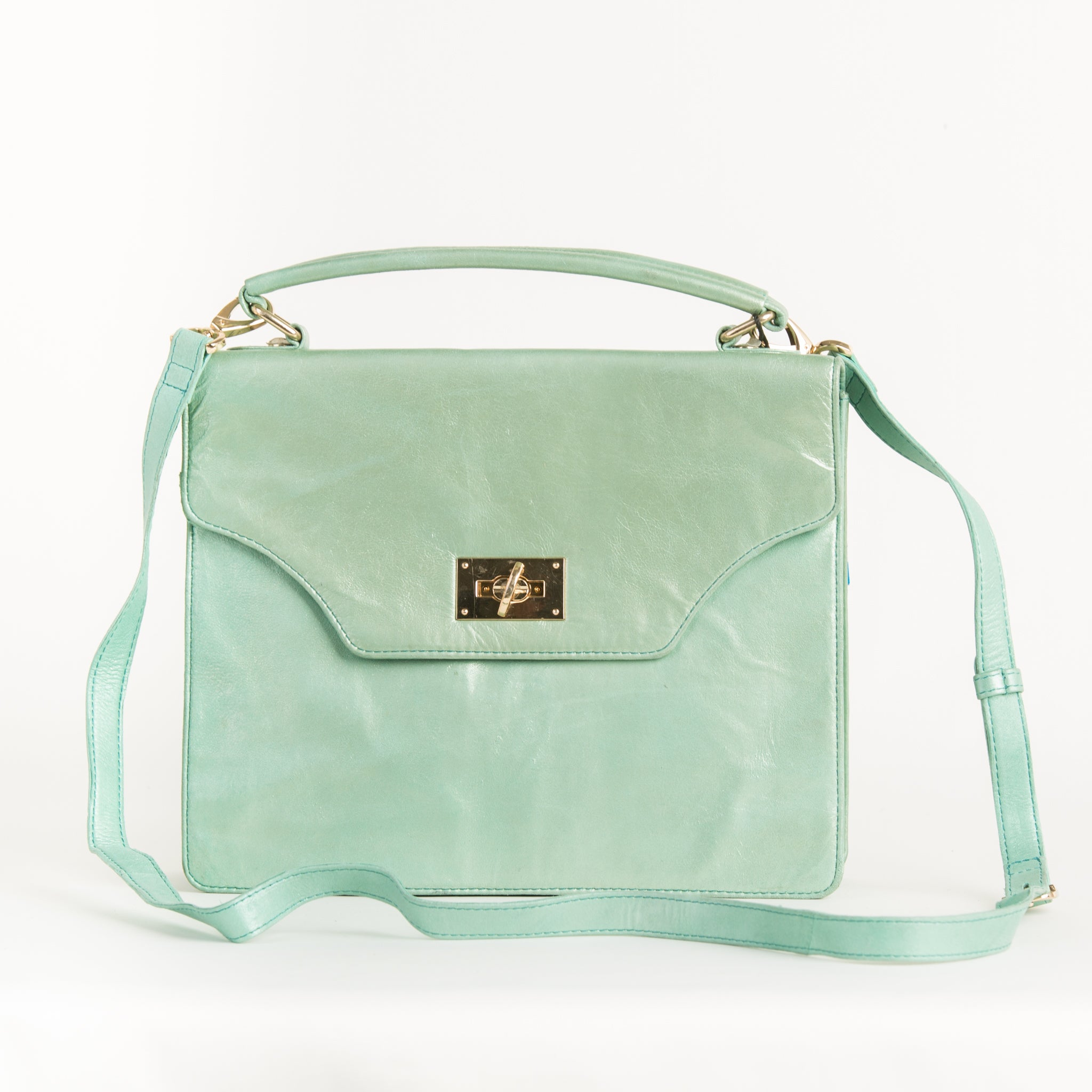 Green Foil Leather Shoulder Bag
