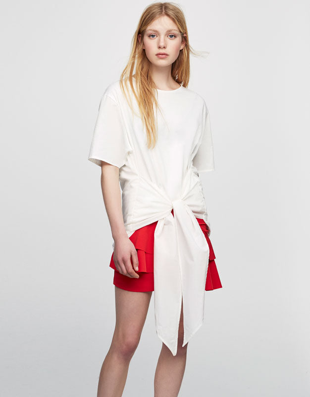 Weave Shirt in White/Red