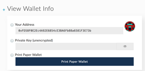 My Ether Wallet - Wallet details