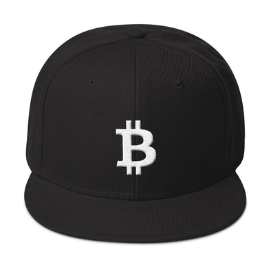 Bitcoin Wool Blend Snapback Cap - Black
