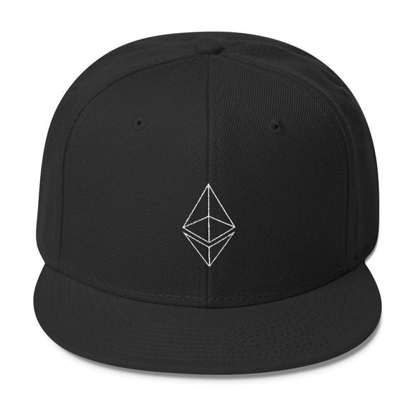 Ethereum Wool Blend Snapback Cap - Black