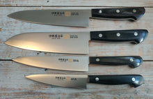 Iseya Molybdenum Steel 180mm Gyuto, 180mm Santoku 150mm Petty and 120mm Petty Knife Set with Black Handle - The Sharp Chef - The Best Authentic Japanese Chefs Knives in the UK from Iseya, Shigekis Tanaka and Sakai Takayuki, sharpening rods, whetstones, stones, saya sheath, handmade traditional blacksmith bladesmith steel damascus vg10 quality sharp chef knife kitchen layer hammered mirrored western handle aus-10 molybdenum
