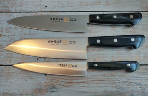 Iseya Molybdenum Steel 180mm Gyuto, 180mm Santoku and 150mm Petty Knife Set with Black Handle - The Sharp Chef - The Best Authentic Japanese Chefs Knives in the UK from Iseya, Shigekis Tanaka and Sakai Takayuki, sharpening rods, whetstones, stones, saya sheath, handmade traditional blacksmith bladesmith steel damascus vg10 quality sharp chef knife kitchen layer hammered mirrored western handle aus-10 molybdenum