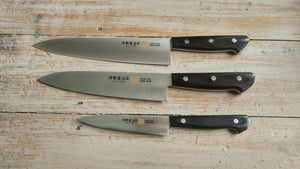 Iseya Molybdenum Steel 210mm Gyuto, 180mm Santoku and 150mm Petty Knife Set with Black Handle - The Sharp Chef - The Best Authentic Japanese Chefs Knives in the UK from Iseya, Shigekis Tanaka and Sakai Takayuki, sharpening rods, whetstones, stones, saya sheath, handmade traditional blacksmith bladesmith steel damascus vg10 quality sharp chef knife kitchen layer hammered mirrored western handle aus-10 molybdenum