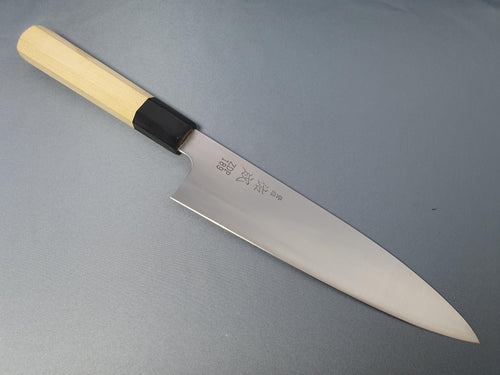 Sukenari ZDP 189 210mm Gyuto with Magnolia Handle - The Sharp Chef - The Best Authentic Japanese Chefs Knives in the UK from Iseya, Shigeki Tanaka and Sakai Takayuki, sharpening rods, whetstones, stones, saya sheath, handmade traditional blacksmith bladesmith steel damascus vg10 quality sharp chef knife kitchen layer hammered mirrored western handle aus-10 molybdenum