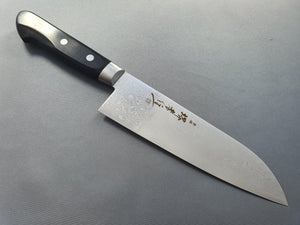 Sakai Takayuki AUS10 45 Layer Mirror Damascus 170mm Santoku Knife - The Sharp Chef - The Best Authentic Japanese Chefs Knives in the UK from Iseya, Shigeki Tanaka and Sakai Takayuki, sharpening rods, whetstones, stones, saya sheath, handmade traditional blacksmith bladesmith steel damascus vg10 quality sharp chef knife kitchen layer hammered mirrored western handle aus-10 molybdenum