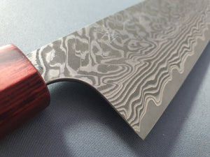 Yoshimi Kato R2/SG2 Damascus Santoku 170mm Knife with Honduras Rosewood Handle