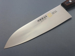 Iseya Molybdenum Steel 210mm Gyuto, 180mm Santoku and 120mm Petty Knife Set with Mahogany Handle