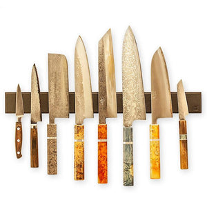 Piotr the Bear Black Leather Magnetic Knife Rack - Various Sizes - The Sharp Chef - The Best Authentic Japanese Chefs Knives in the UK from Iseya, Shigekis Tanaka and Sakai Takayuki, sharpening rods, whetstones, stones, saya sheath, handmade traditional blacksmith bladesmith steel damascus vg10 quality sharp chef knife kitchen layer hammered mirrored western handle aus-10 molybdenum