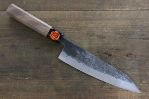 Shigeki Tanaka Blue Steel No.2 Kurouchi 180mm Gyuto Knife - The Sharp Chef - The Best Authentic Japanese Chefs Knives in the UK from Iseya, Shigekis Tanaka and Sakai Takayuki, sharpening rods, whetstones, stones, saya sheath, handmade traditional blacksmith bladesmith steel damascus vg10 quality sharp chef knife kitchen layer hammered mirrored western handle aus-10 molybdenum