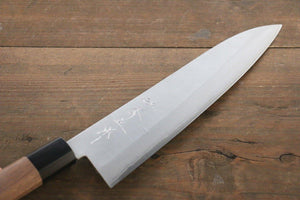 Shigeki Tanaka VG10 210mm Gyuto Knife with Nashiji Finish - The Sharp Chef - The Best Authentic Japanese Chefs Knives in the UK from Iseya, Shigekis Tanaka and Sakai Takayuki, sharpening rods, whetstones, stones, saya sheath, handmade traditional blacksmith bladesmith steel damascus vg10 quality sharp chef knife kitchen layer hammered mirrored western handle aus-10 molybdenum