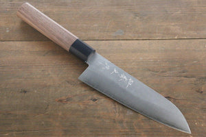 Shigeki Tanaka Silver Steel No.3 165mm Santoku Knife with Nashiji Finish - The Sharp Chef - The Best Authentic Japanese Chefs Knives in the UK from Iseya, Shigekis Tanaka and Sakai Takayuki, sharpening rods, whetstones, stones, saya sheath, handmade traditional blacksmith bladesmith steel damascus vg10 quality sharp chef knife kitchen layer hammered mirrored western handle aus-10 molybdenum