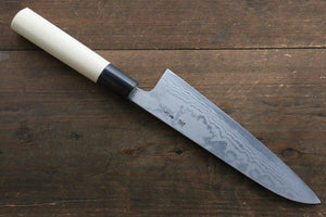 Shigeki Tanaka Blue Steel No.2 17 Layer Damascus 180mm Gyuto Knife with Magnolia Handle - The Sharp Chef - The Best Authentic Japanese Chefs Knives in the UK from Iseya, Shigekis Tanaka and Sakai Takayuki, sharpening rods, whetstones, stones, saya sheath, handmade traditional blacksmith bladesmith steel damascus vg10 quality sharp chef knife kitchen layer hammered mirrored western handle aus-10 molybdenum