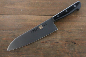 Iseya Molybdenum Steel 180mm Gyuto, 180mm Santoku and 120mm Petty Knife Set with Black Handle - The Sharp Chef - The Best Authentic Japanese Chefs Knives in the UK from Iseya, Shigekis Tanaka and Sakai Takayuki, sharpening rods, whetstones, stones, saya sheath, handmade traditional blacksmith bladesmith steel damascus vg10 quality sharp chef knife kitchen layer hammered mirrored western handle aus-10 molybdenum