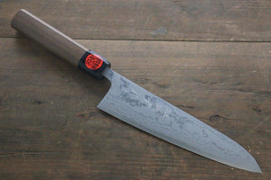 Shigeki Tanaka Blue Steel No.2 17 Layer Damascus 180mm Gyuto Knife with Walnut Handle - The Sharp Chef - The Best Authentic Japanese Chefs Knives in the UK from Iseya, Shigekis Tanaka and Sakai Takayuki, sharpening rods, whetstones, stones, saya sheath, handmade traditional blacksmith bladesmith steel damascus vg10 quality sharp chef knife kitchen layer hammered mirrored western handle aus-10 molybdenum