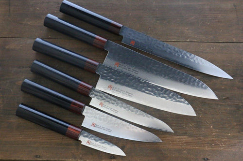 Iseya VG10 33 Layer Damascus Sashimi Slicer, Petty, Santoku, Small Santoku Gyuto, Paring Japanese Chef Knife Set - The Sharp Chef - The Best Authentic Japanese Chefs Knives in the UK from Iseya, Shigekis Tanaka and Sakai Takayuki, sharpening rods, whetstones, stones, saya sheath, handmade traditional blacksmith bladesmith steel damascus vg10 quality sharp chef knife kitchen layer hammered mirrored western handle aus-10 molybdenum