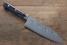 Yoshimi Kato VG10 Nickel Damascus 165mm Santoku Knife with Black Handle