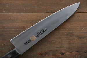 Iseya Molybdenum Steel 180mm Gyuto Knife with Black Handle - The Sharp Chef - The Best Authentic Japanese Chefs Knives in the UK from Iseya, Shigekis Tanaka and Sakai Takayuki, sharpening rods, whetstones, stones, saya sheath, handmade traditional blacksmith bladesmith steel damascus vg10 quality sharp chef knife kitchen layer hammered mirrored western handle aus-10 molybdenum