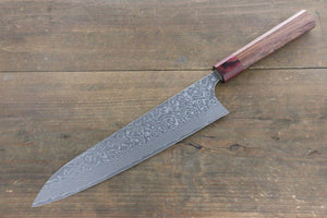 Yoshimi Kato R2 Damascus Gyuto 240mm Knife with Honduras Rosewood Handle - The Sharp Chef - The Best Authentic Japanese Chefs Knives in the UK from Iseya, Shigekis Tanaka and Sakai Takayuki, sharpening rods, whetstones, stones, saya sheath, handmade traditional blacksmith bladesmith steel damascus vg10 quality sharp chef knife kitchen layer hammered mirrored western handle aus-10 molybdenum