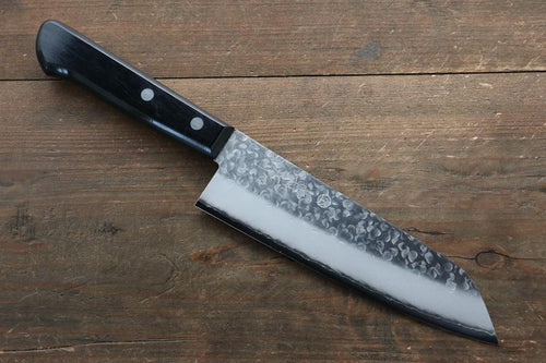 Takamura Chromax Hammered 170mm Santoku Knife with Black Handle