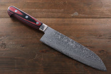 Yoshimi Kato VG10 Nickel Damascus 180mm Santoku Knife - The Sharp Chef - The Best Authentic Japanese Chefs Knives in the UK from Iseya, Shigekis Tanaka and Sakai Takayuki, sharpening rods, whetstones, stones, saya sheath, handmade traditional blacksmith bladesmith steel damascus vg10 quality sharp chef knife kitchen layer hammered mirrored western handle aus-10 molybdenum