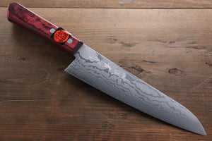 Shigeki Tanaka VG10 17 Layer Damascus 210mm Gyuto Knife - The Sharp Chef - The Best Authentic Japanese Chefs Knives in the UK from Iseya, Shigekis Tanaka and Sakai Takayuki, sharpening rods, whetstones, stones, saya sheath, handmade traditional blacksmith bladesmith steel damascus vg10 quality sharp chef knife kitchen layer hammered mirrored western handle aus-10 molybdenum