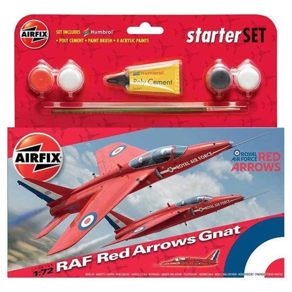 Airfix Raf Red Arrows Gnat Starter Set 1:72 Plastic Kits