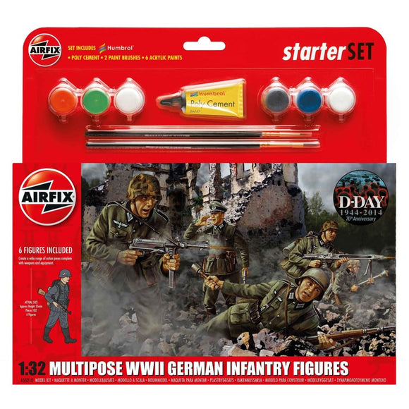 Airfix Wwii German Infantry Multipose Starter Set 1:32 Plastic Kits