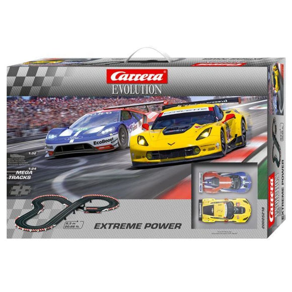 Carrera Evolution Slot Car Set - Extreme Power - Ford Gt & Chevrolet Corvette - 1/24 Scale Slot Cars