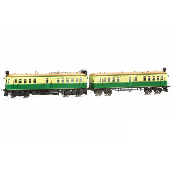 Eureka Models Cph/cth Rail Motor And Trailer Set - Tongue And Groove Green & Cream Cph6 Cth 54 With Sound Ho Locomotives