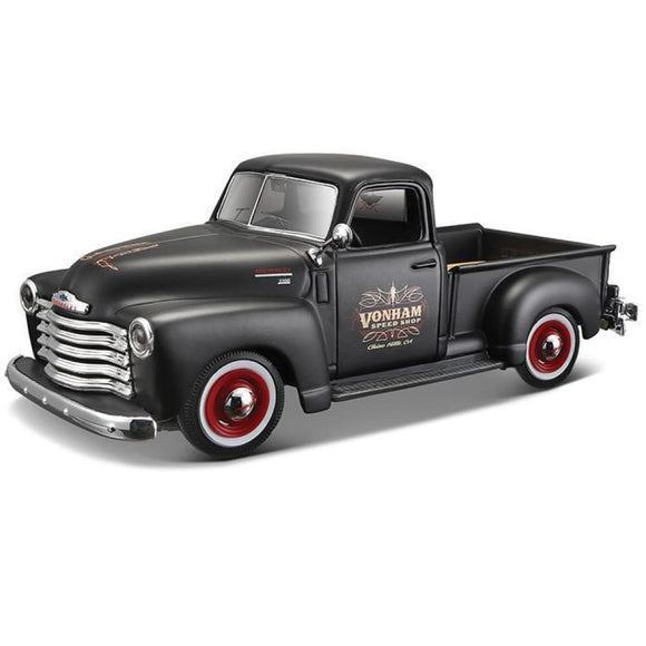 Maisto Design - 1:25 1950 Chevrolet 3100 Pickup Truck - Black With Red Rims Die Cast Cars