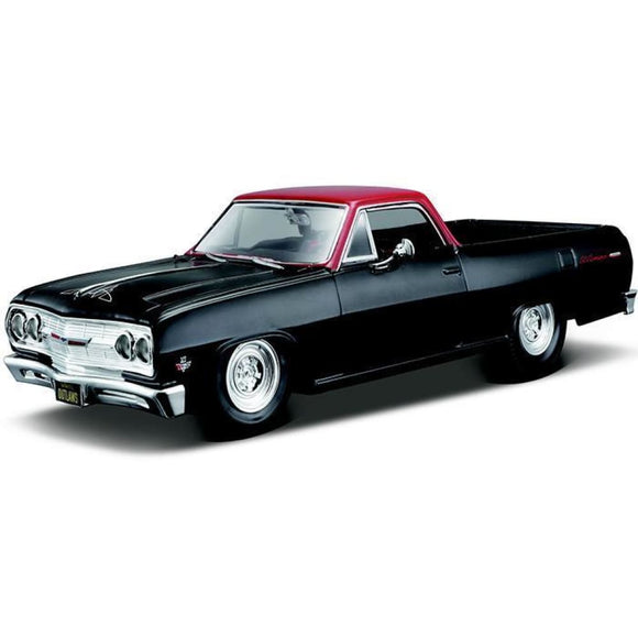 Maisto Design - 1:25 1965 Chevrolet El Camino - Matte Black With Red Die Cast Cars