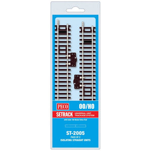 Peco Ho/oo St-2005 Isolating Standard Straight (Pack Of 2) Model Railway Track