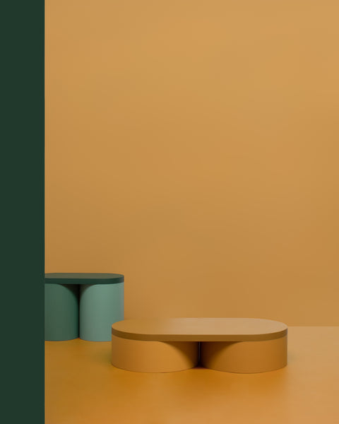 Colorful low table contemporary design lacquered wood ocher green