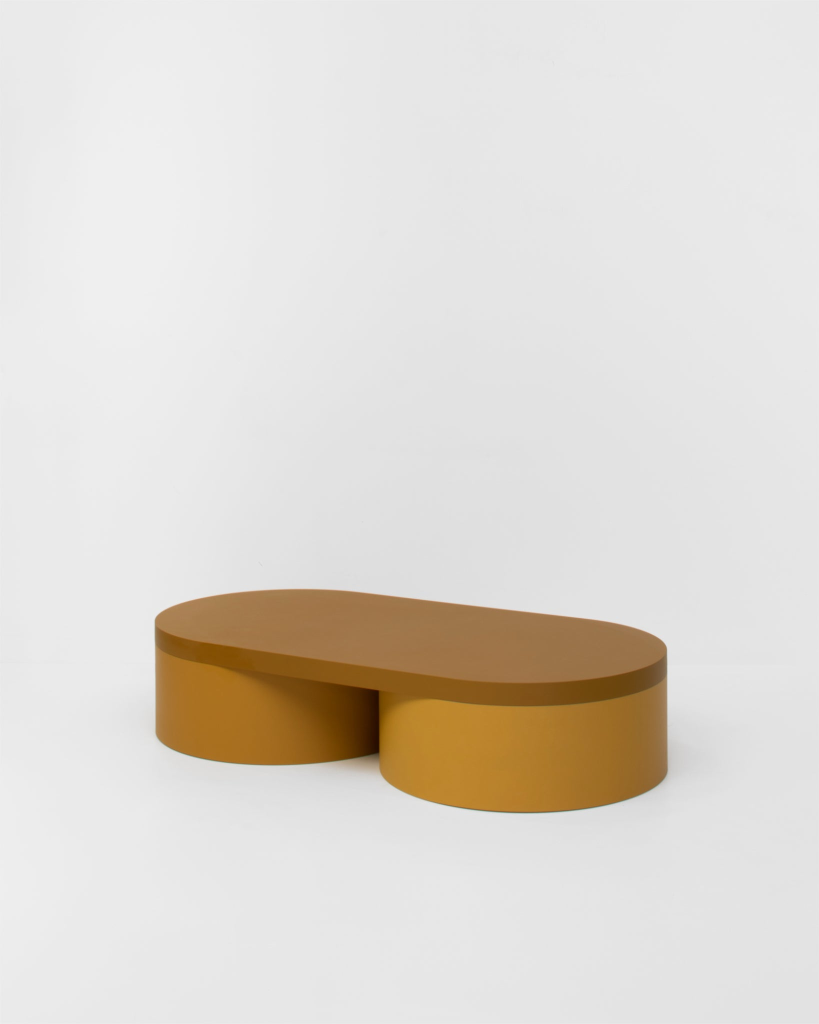 Colorful low table contemporary design lacquered wood ocher