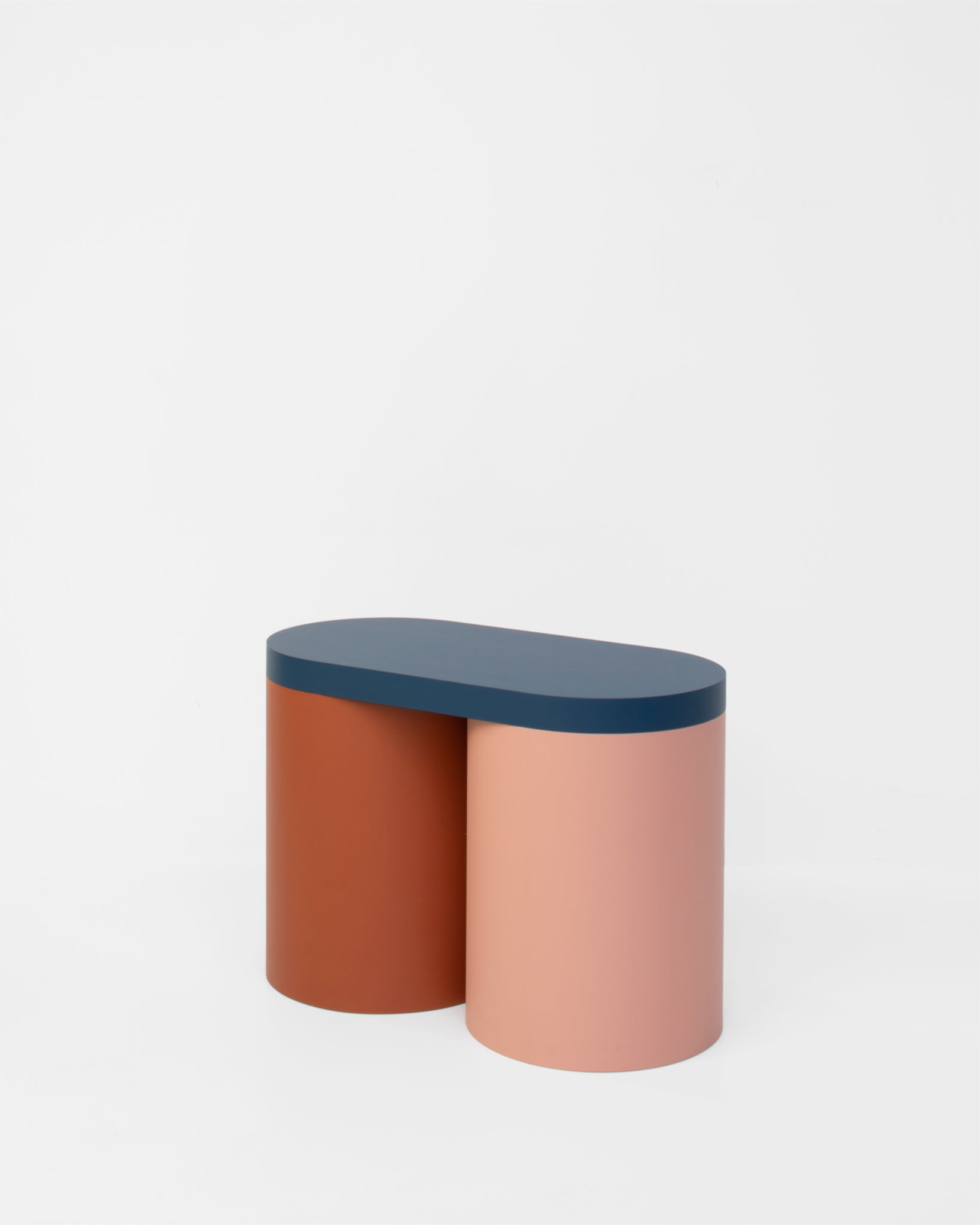 Colorful stool contemporary design lacquered wood blue brown