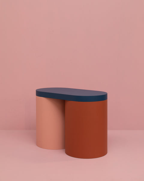 Colorful stool contemporary design lacquered wood pink