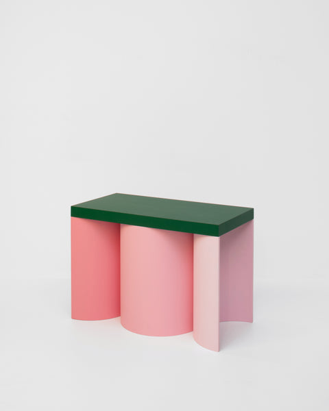 Colorful stool contemporary design lacquered wood pink green