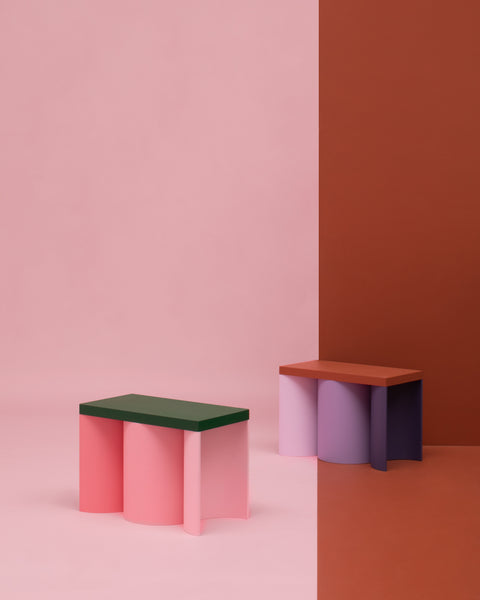 Colorful stool contemporary design lacquered wood pink green purple