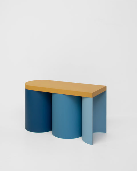 Colorful stool contemporary design lacquered wood blue ocher