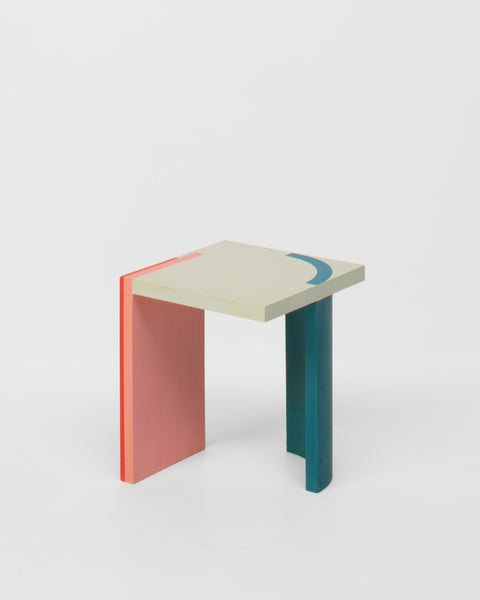 Design forward and beautiful side table for your home interior. Colorful and geometric side table with a contemporary design. Available in various color combinations. Shipping worldwide. Made to order. Carefully handmade in our atelier. Made of acrylic resin. A design that adds value to every modern and contemporary home and interior.